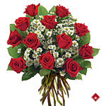 Bouquet de douze roses rouges.