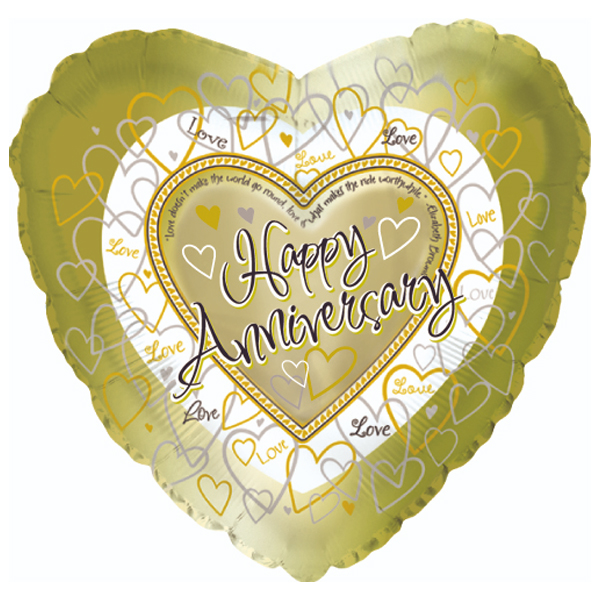 Happy Anniversary ballon en mylar en or